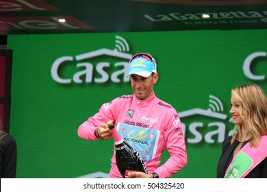TURIN, ITALY - MAY 29: Cyclist Vincenzo Nibali, Astana Pro Team, stands on the podium after the 21th stage of Giro D'Italia 2016 on May 29, Giro D'Italia in Turin, Italy.