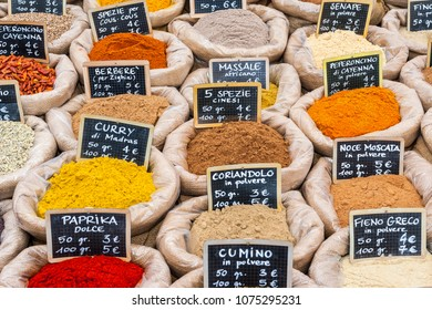 Turin, Italy - May 8, 2011: Spices exposed in a market of local products.