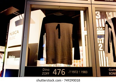 TURIN, ITALY - NOV 3, 2017: Shirt of the Juve ex players, Juventus museum, opened in 2011