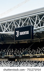 TURIN, ITALY - NOV 3, 2017: Juve logo on the screen at the Juventus Stadium (Allianz), opened in 2011