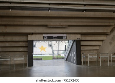 TURIN, ITALY - NOV 3, 2017: Entrance to the Juventus Stadium (Allianz), opened in 2011