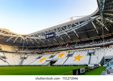 TURIN, ITALY - NOV 3, 2017:Beautiful view of the Juventus Stadium (Allianz), opened in 2011
