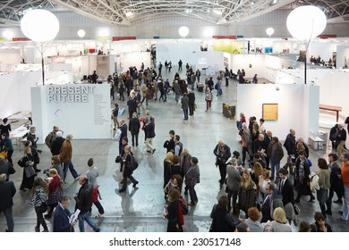 TURIN, ITALY - NOVEMBER 06: Artissima 2014, people and art collectors at contemporary art fair vernissage on November 6, 2014 in Turin.