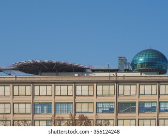 TURIN, ITALY - NOVEMBER 07, 2015: Roof meeting room know as La Bolla meaning The Bubble and helipad at Lingotto conference centre designed by Renzo Piano in former Fiat car factory