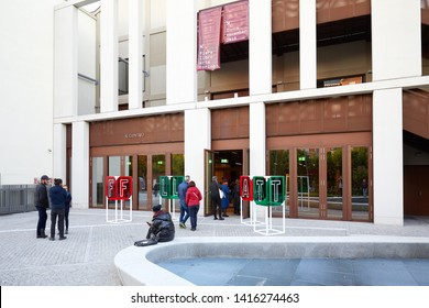 TURIN, ITALY - NOVEMBER 2, 2018: FLAT, art book fair entrance with people at Nuvola Lavazza building in Turin, Italy.
