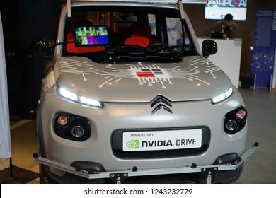 Turin, Italy - november 2018:  Autonomous car implemented on NVIDIA software platform