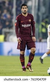 Turin, Italy. November 22, 2017. UEFA Champions League, Juventus - Barcelona 0-0. Luis Suarez, Barcelona.