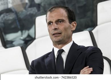Turin, Italy. October 18, 2017. UEFA Champions League, Juventus - Sporting Lisbona 2-1. Massimiliano Allegri, coach Juventus.
