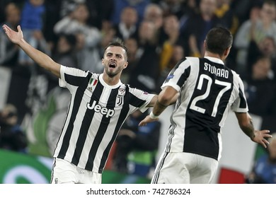 Turin, Italy. October 18, 2017. UEFA Champions League, Juventus - Sporting Lisbona 2-1. Miralem Pjanic, Juventus.