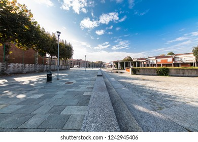 Turin, Italy - October 18, 2018: Deserted square in the suburbs.