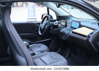 Turin, Italy - October 2018: first self-driving car testing test in the city