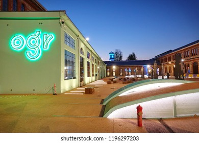 Turin, Italy - October 2018: OGR where visual and performing arts meet. Space for concerts, exhibitions, performances, ballet, shows.