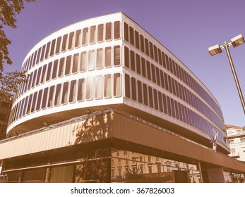 TURIN, ITALY - OCTOBER 22, 2014: The Turin Commerce Chamber building was designed by Italian architect Carlo Mollino vintage