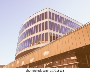 TURIN, ITALY - OCTOBER 22, 2014: The Turin Commerce Chamber building was designed by famous Italian architect Carlo Mollino vintage