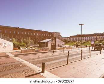 TURIN, ITALY - OCTOBER 22, 2014: Piazzale Valdo Fusi is a large central square with a jazz club, a beer garden, the Museum of Natural History, the Chamber of Commerce vintage
