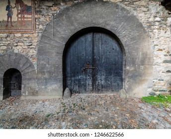 Turin, Italy - October 22, 2018: Old door in the Medieval Village, located in the Valentino Park.