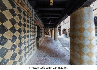 Turin, Italy - October 22, 2018: Colonnade in the Medieval Village, located in the Valentino Park.