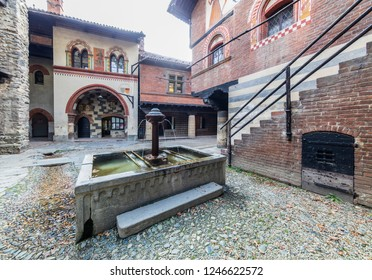 Turin, Italy - October 22, 2018: Fountain in the Medieval Village, located in the Valentino Park.