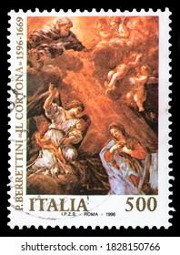 TURIN, ITALY - OCTOBER 6, 2020: A stamp printed in ITALY celebrating the 400th anniversary of the birth of Pietro Berettini, il Cortona, circa 1996