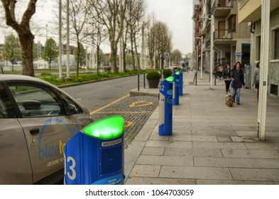 Turin, Italy, Piedmont April 08 2018. Electric car rental, parking with fast charging points.