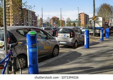 Turin, Italy, Piedmont April 13 2018. Electric car rental, parking with fast charging points.