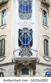 TURIN, ITALY - SEPTEMBER 10, 2017: Art Nouveau building villa Fenoglio Lafleur bow window detail with floral decorations in Turin, Italy