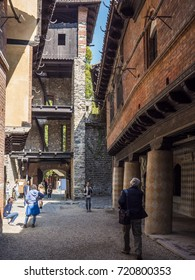 TURIN, ITALY - SEPTEMBER 16: Inside the medieval village. The Borgo and the medieval Rocca of Turin are a museum dedicated to medieval architecture on September 16, 2017.