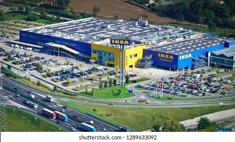 Turin, Italy - September 2018: Aerial view over the local Ikea store and the customer parking
