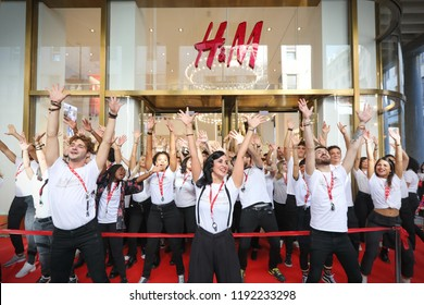 Turin, Italy - September 2018: opening new H&M clothing store