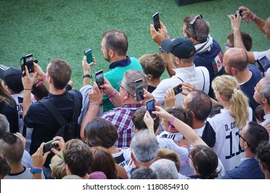 Turin, Italy - September 2018: a lot of people taking pictures outside the football stadium