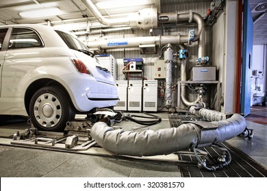 Turin, Italy - september  22, 2014 : Car Emission testing center