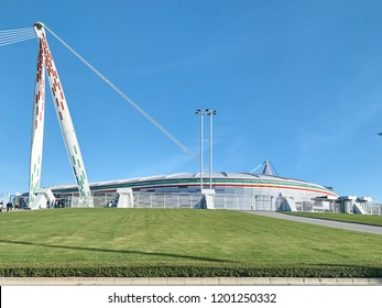 Turin, Italy - September 29, 2018: View of the Allianz Stadium, the field where Juventus plays its home matches. The shot is taken in a sunny day before the Serie A match Juve-Napoli