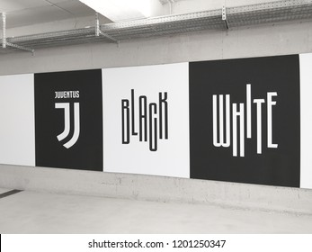 Turin, Italy - September 29, 2018: View of a graffiti inside the Allianz Stadium with the motto of Juventus. The Stadium is the field where Juventus plays its home matches