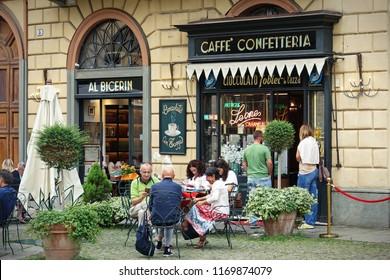 Turin, Italy -  Septmber 2018: historic Caffè Al Bicerin (1763) in Turin, located in Piazza della Consolata