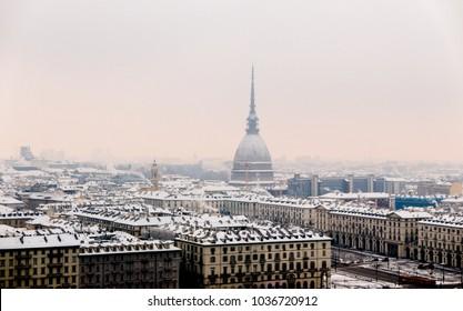 Turin Italy skyline in winter