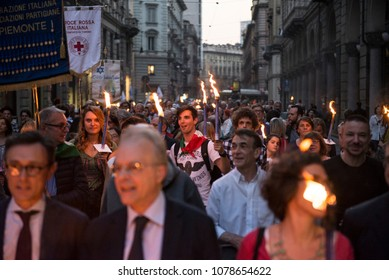 Turin, Italy-April 24,2018: Torchlight procession for the Liberation Day in Turin