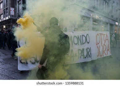 Turin, Italy-December 15, 2018: Manifestation of the anarchists against Salvini and the security decree