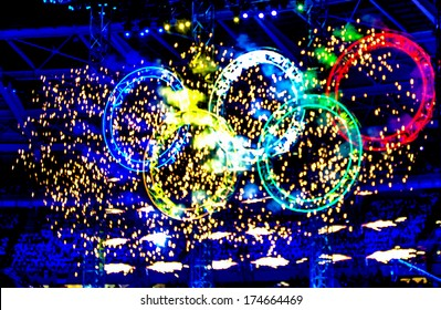 TURIN, ITALY-FEBRUARY 11, 2006: Olympic rings illuminated during the opening ceremony at the Winter Olympic Games of Turin 2006.