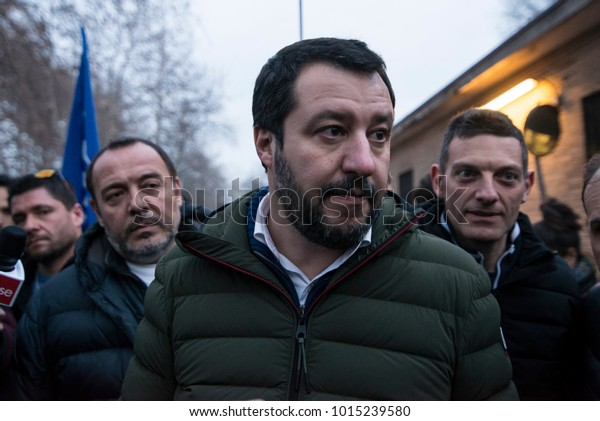 Turin, Italy-February 1,2018: Matteo Salvini candidate premiere of the Lega Nord party visiting a gypsy camp in Turin, Italy