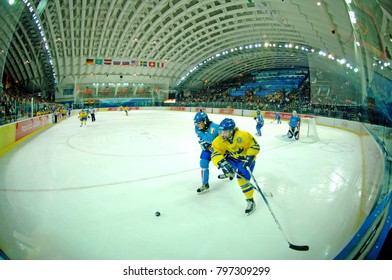 TURIN, ITALY-FEBRUARY 14, 2006: panoramic view of the ice hockey arena during the female match Italy vs Sweden of the winter Olympic Games 2016, in Turin.