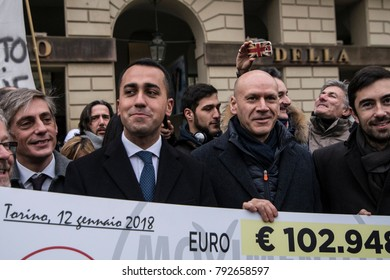 Turin, Italy-January 12, 2018: Luigi Di Maio M5S returns salaries advisors to the AIB voluntary forest fire fighting bodies of Piedmont in Piazza Castello in Turin