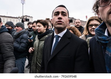 Turin, Italy-January 12, 2018: Luigi Di Maio M5S returns salaries advisors to the AIB voluntary forest fire fighting bodies of Piedmont in Piazza Castello in Turin, Italy