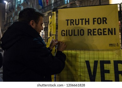 Turin, Italy-January 25, 2018: Torchlight in memory of Giulio Regeni in Turin,Italy. Giulio Regeni was an Italian researcher who was killed on January 25, 2016 in Cairo,Egypt.