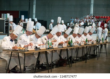 Turin, Italy-June 12, 2018: Presentation of the dishes at the jury of Bocuse d'Or, the world's most famous international cooking competition in Turin