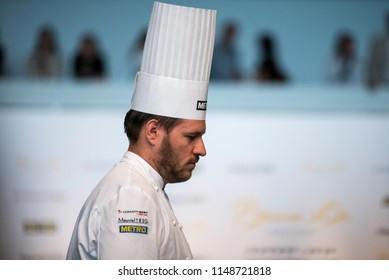 Turin, Italy-June 12, 2018: Tamas Szell during the presentation of the dishes at the jury of Bocuse d'Or, the world's most famous international cooking competition in Turin.