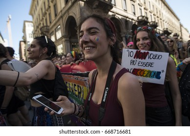 Turin, Italy-June 17, 2017: Gay Pride 2017 Manifestation in Turin, Italy