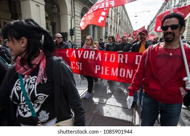 Turin, Italy-May 1, 2018: Workers demonstration in the May Day procession in Turin, Italy