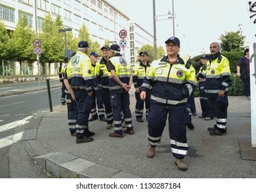 Turin, Italy-May 27, 2018: Operation of defusing the Italian Army of a World War II bomb found in the Lingotto area in Turin