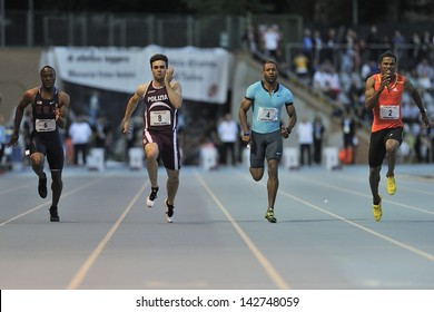 TURIN - JUNE 8:(second from left) Ricks Keith, Tumi Michael, Newman Calesio runs 100m sprint men race at XIX Turin International Track and Field meeting, Italy on 8th june 2013, in Turin, Italy.