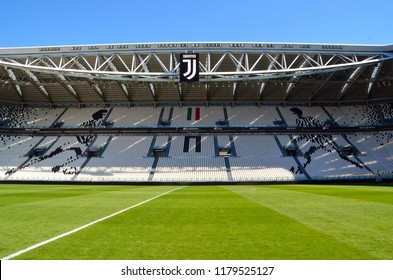 TURIN - MAY 23, 2018: Tourists walk in the Juventus'Stadium on May 23, 2018 in Turin